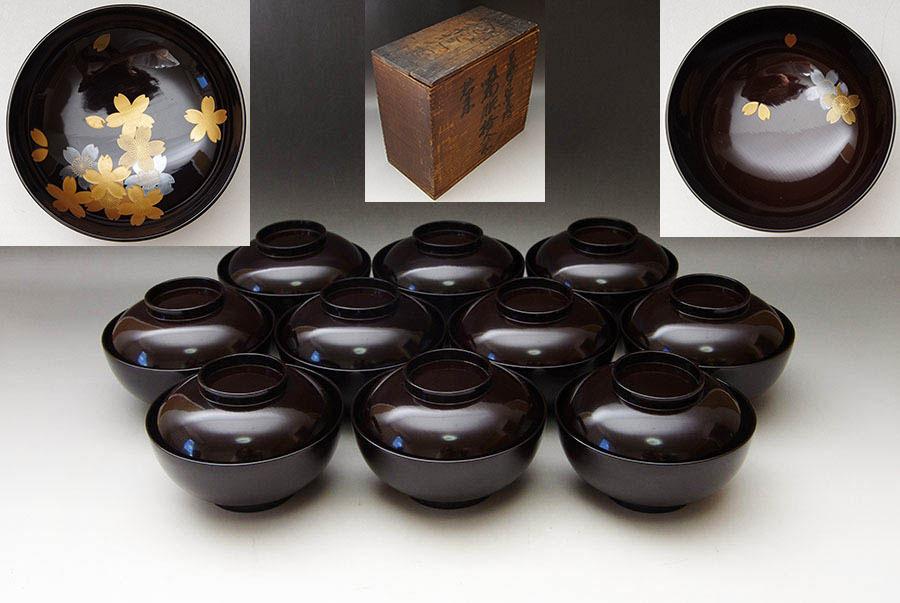 旧家蔵出し! 焦げ茶色 桜蒔絵 吸物椀 10客 箱付 漆器 木製漆器 茶懐石道具 時代物 明治時代