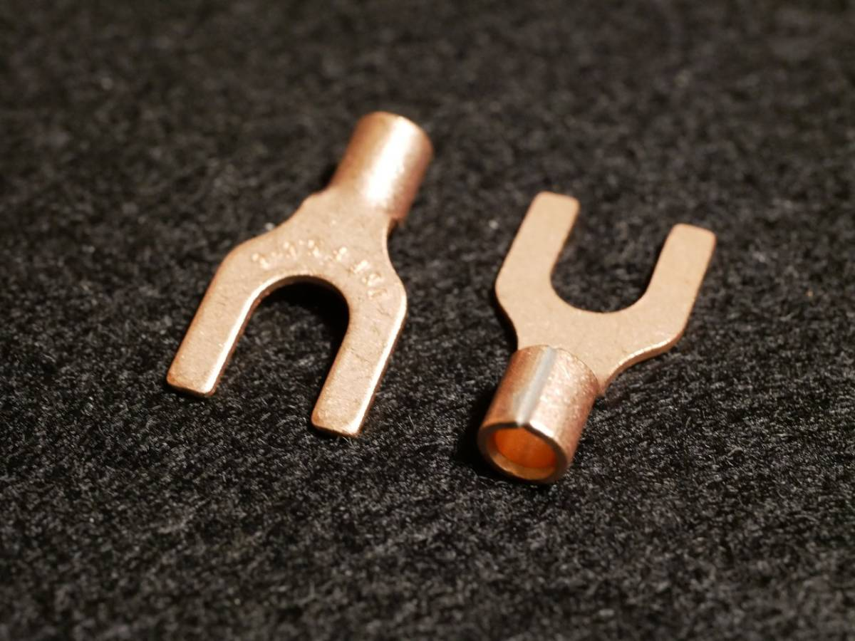 【20個入】日本国内製造 純銅ハイエンドYラグ Y端子 無メッキ 3N無酸素銅【プラグ幅6mm】
