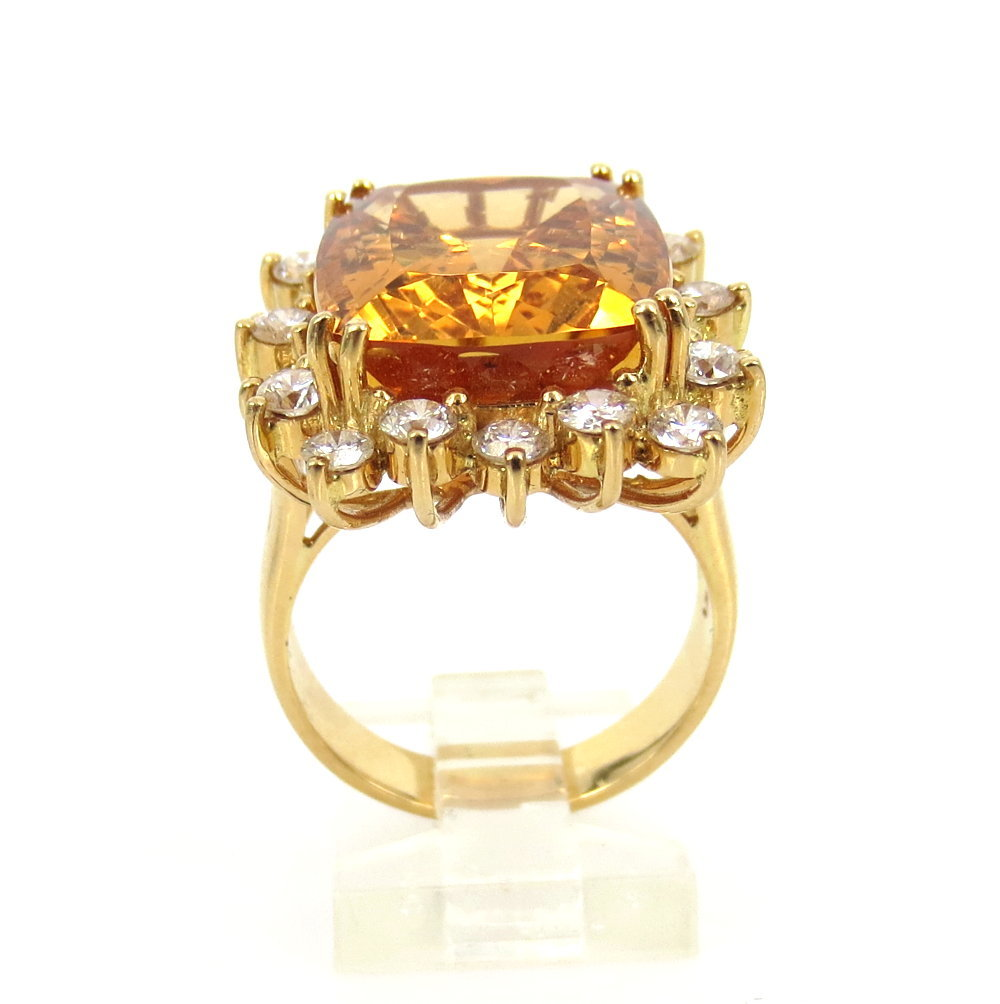 ◆ ヴィンテージ ◆《45.0ct インペリアルトパーズ 6.50ct ダイヤモンド》18K イエローゴールド イヤリング 指輪 ネックレス セット_画像7