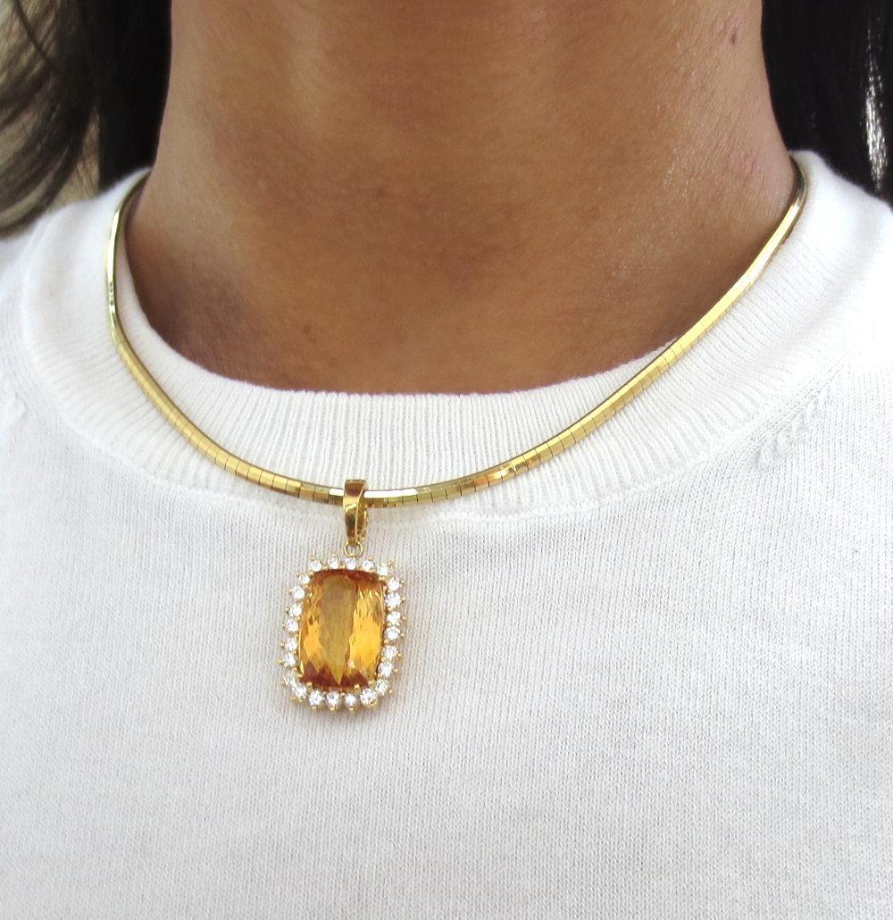 ◆ ヴィンテージ ◆《45.0ct インペリアルトパーズ 6.50ct ダイヤモンド》18K イエローゴールド イヤリング 指輪 ネックレス セット_画像8