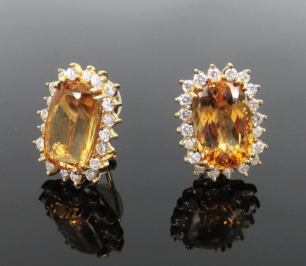 ◆ ヴィンテージ ◆《45.0ct インペリアルトパーズ 6.50ct ダイヤモンド》18K イエローゴールド イヤリング 指輪 ネックレス セット_画像2