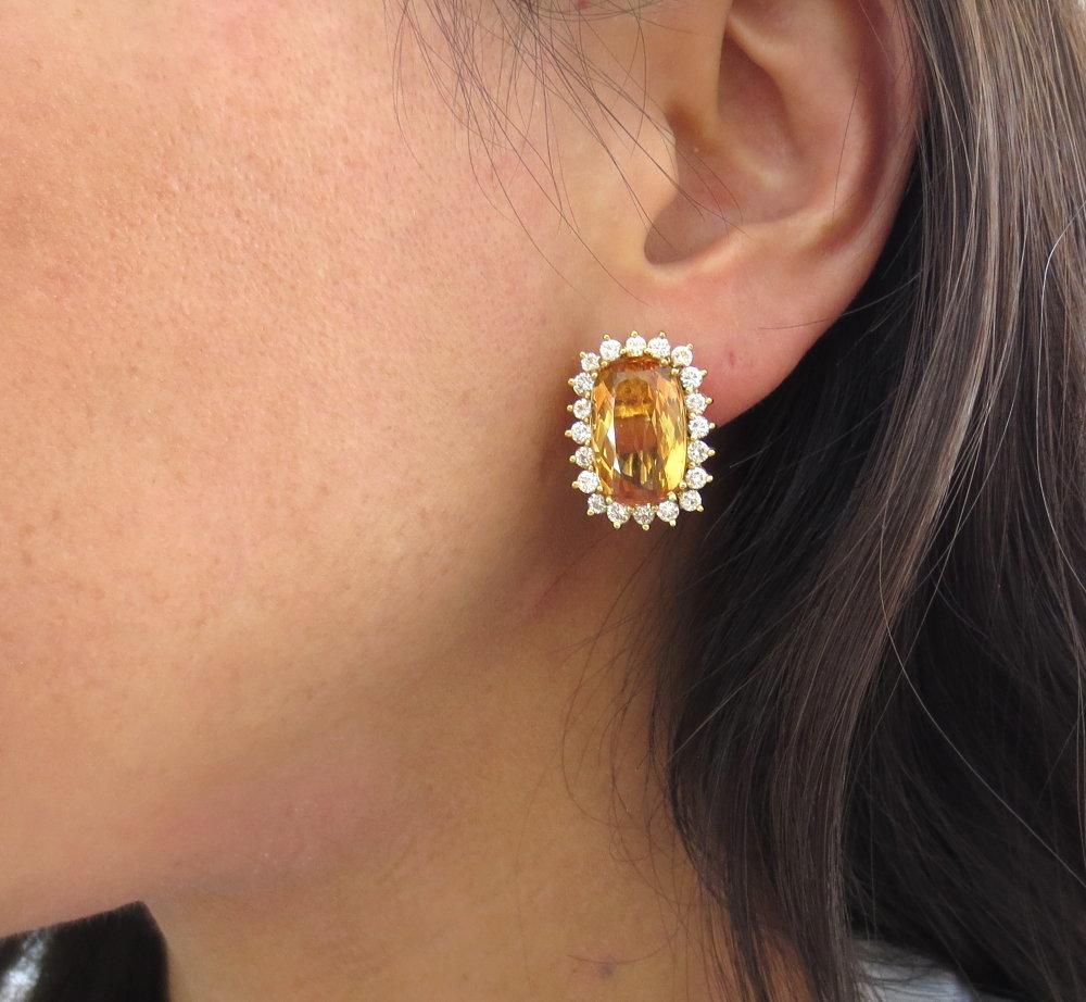 ◆ ヴィンテージ ◆《45.0ct インペリアルトパーズ 6.50ct ダイヤモンド》18K イエローゴールド イヤリング 指輪 ネックレス セット_画像10