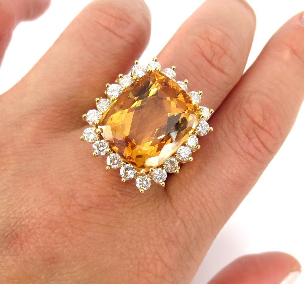 ◆ ヴィンテージ ◆《45.0ct インペリアルトパーズ 6.50ct ダイヤモンド》18K イエローゴールド イヤリング 指輪 ネックレス セット_画像9