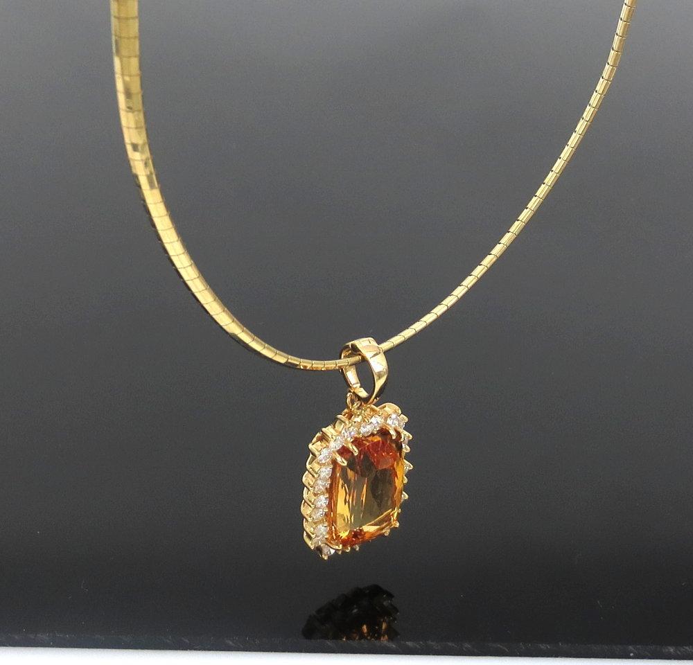 ◆ ヴィンテージ ◆《45.0ct インペリアルトパーズ 6.50ct ダイヤモンド》18K イエローゴールド イヤリング 指輪 ネックレス セット_画像3