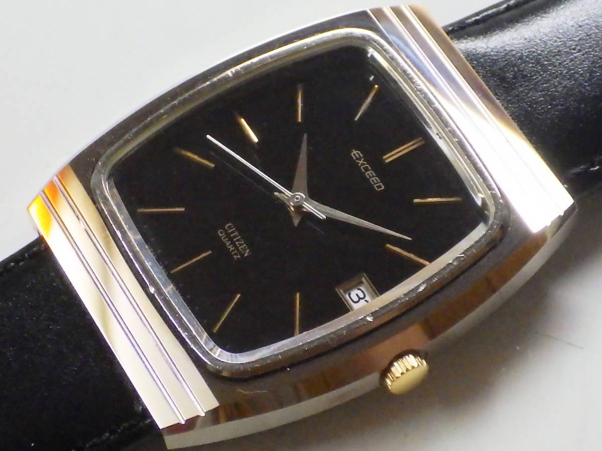 シチズン エクシード OH済み。メンズ・男性用クォーツ腕時計。超硬ケース。4-797221。