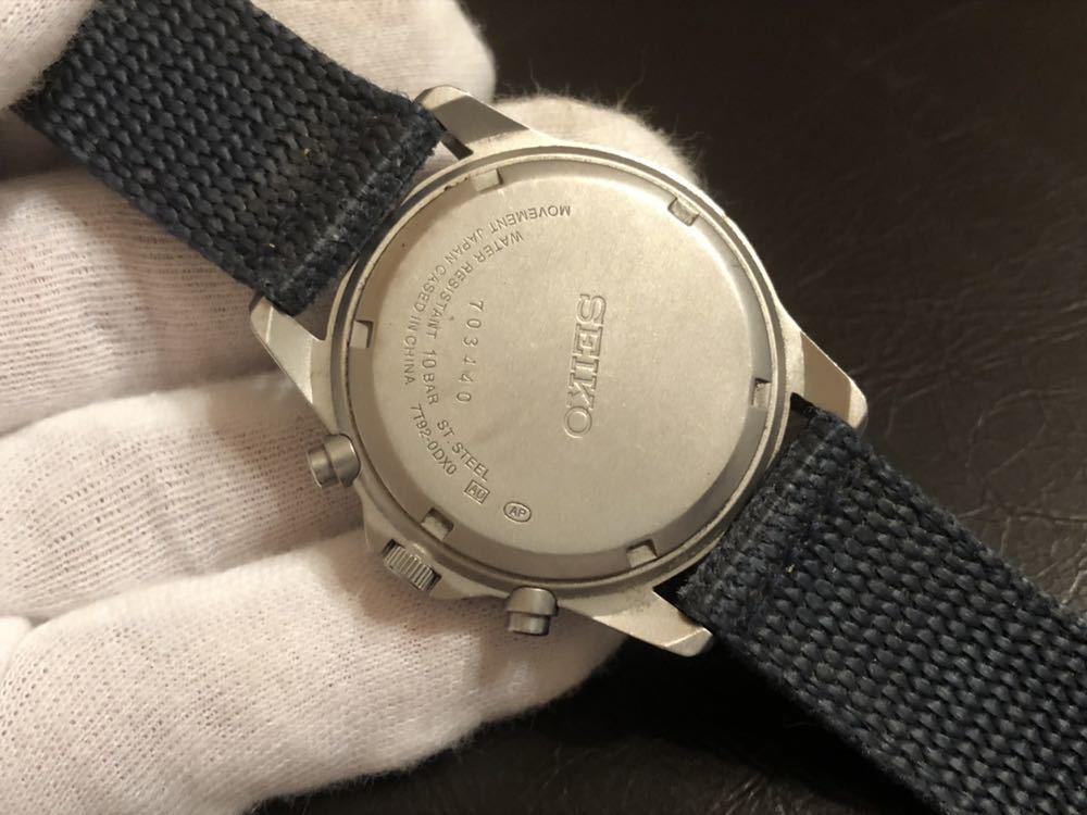 1円スタート 腕時計 SEIKO セイコー クロノグラフ 100M 7T92-0DX0 青ベルト 中古品 _画像6