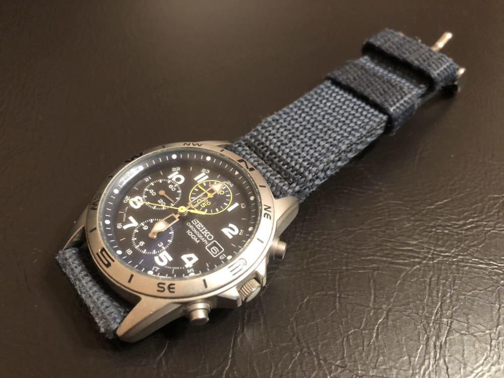 1円スタート 腕時計 SEIKO セイコー クロノグラフ 100M 7T92-0DX0 青ベルト 中古品 _画像5
