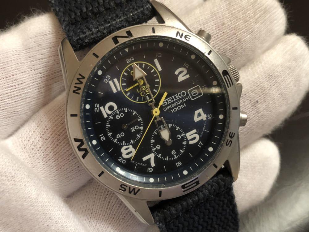 1円スタート 腕時計 SEIKO セイコー クロノグラフ 100M 7T92-0DX0 青ベルト 中古品