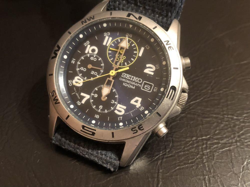 1円スタート 腕時計 SEIKO セイコー クロノグラフ 100M 7T92-0DX0 青ベルト 中古品 _画像2