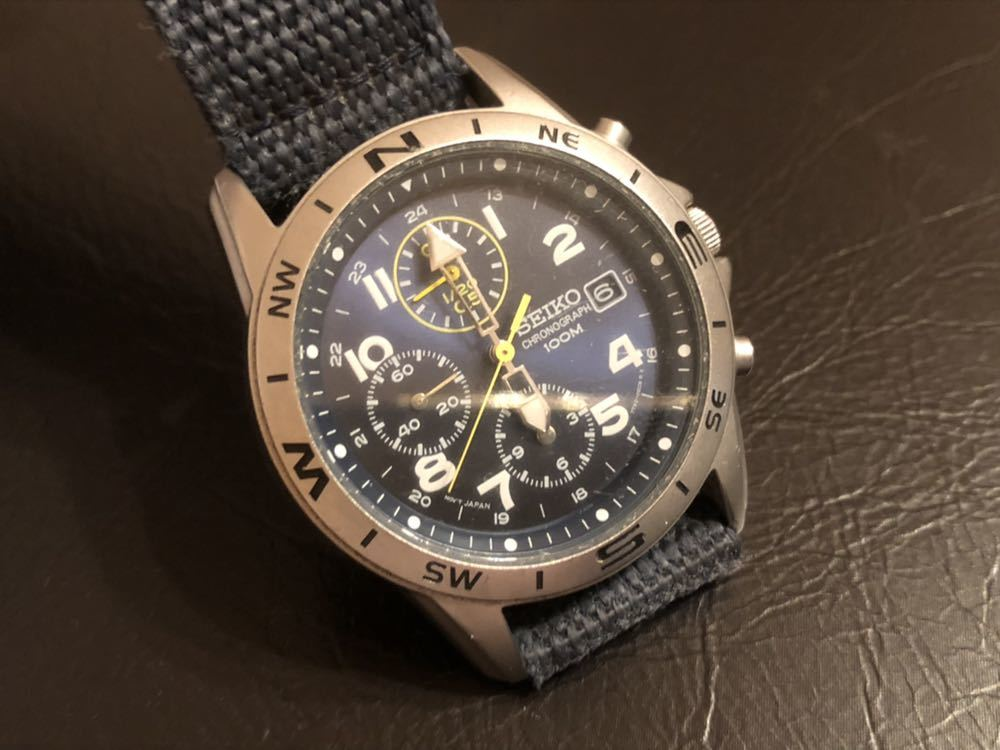 1円スタート 腕時計 SEIKO セイコー クロノグラフ 100M 7T92-0DX0 青ベルト 中古品 _画像3