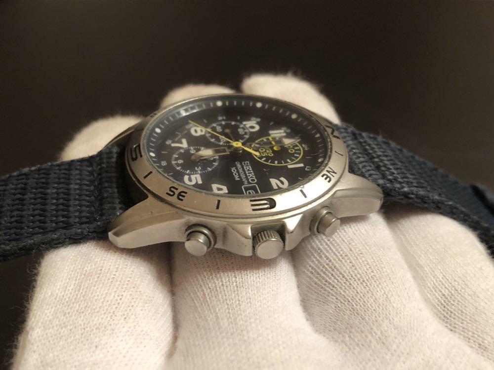 1円スタート 腕時計 SEIKO セイコー クロノグラフ 100M 7T92-0DX0 青ベルト 中古品 _画像4