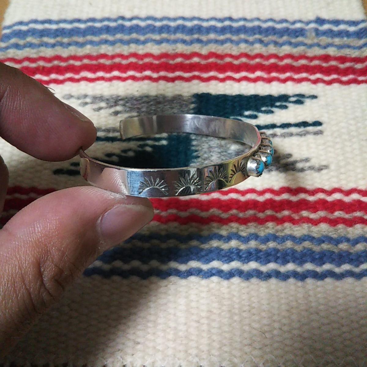 インディアンジュエリー ナバホ族 ターコイズ シルバーバングル♯ネイティブアメリカン ホピ族 ズニ族 sterling silver 925 navajo zuni_画像5