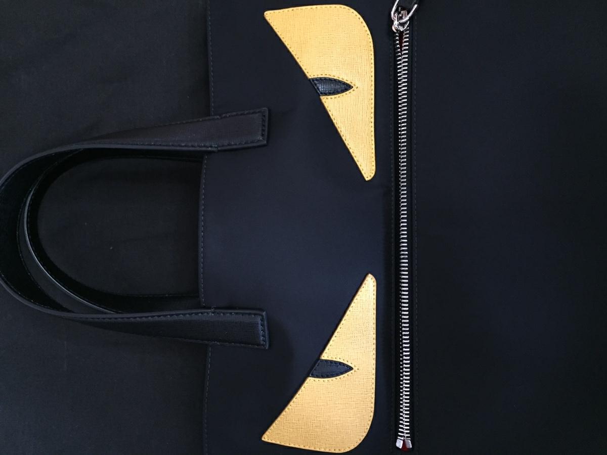 美品 フェンディ FENDI バッグ トートバッグ ナイロン×レザー 黒×イエロー シルバー金具 モンスター バグズ 未使用に近い_画像3