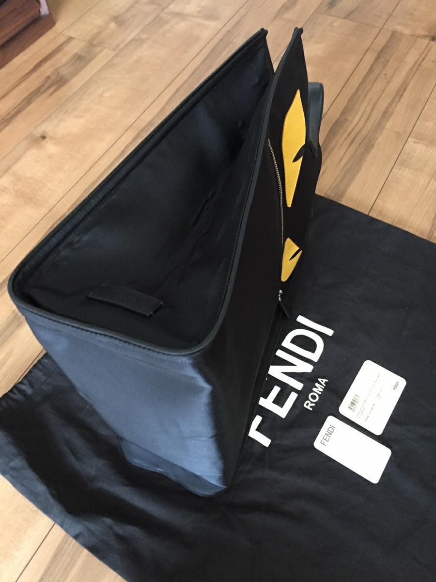 美品 フェンディ FENDI バッグ トートバッグ ナイロン×レザー 黒×イエロー シルバー金具 モンスター バグズ 未使用に近い_画像4