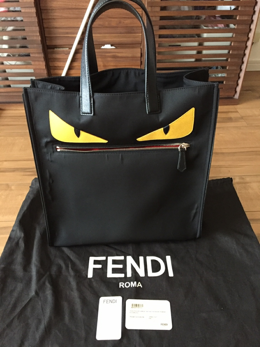 美品 フェンディ FENDI バッグ トートバッグ ナイロン×レザー 黒×イエロー シルバー金具 モンスター バグズ 未使用に近い