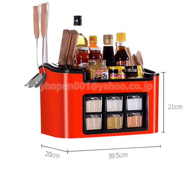 調味料ラック スパイスボックス 収納ケース キッチン雑貨 ケース フラップ扉が便利な 調味料入れ 省スペース 棚 プラチック_画像4