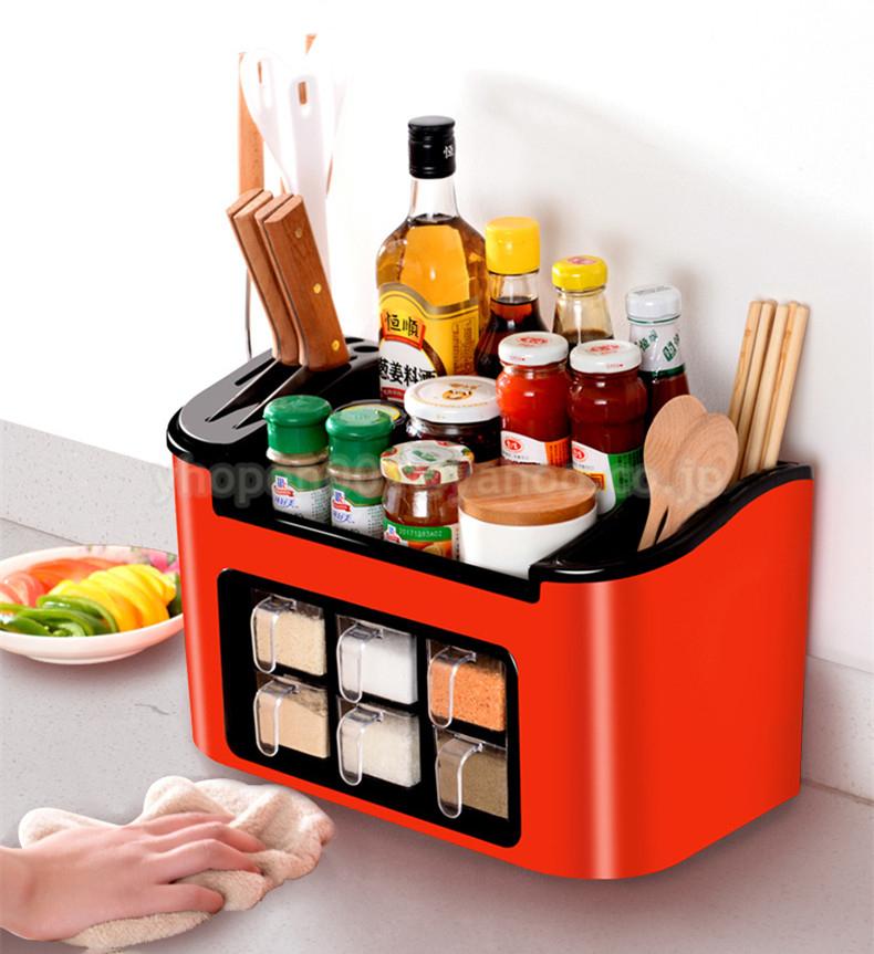 調味料ラック スパイスボックス 収納ケース キッチン雑貨 ケース フラップ扉が便利な 調味料入れ 省スペース 棚 プラチック