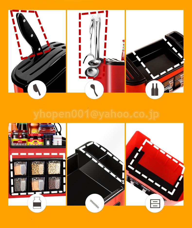調味料ラック スパイスボックス 収納ケース キッチン雑貨 ケース フラップ扉が便利な 調味料入れ 省スペース 棚 プラチック_画像9