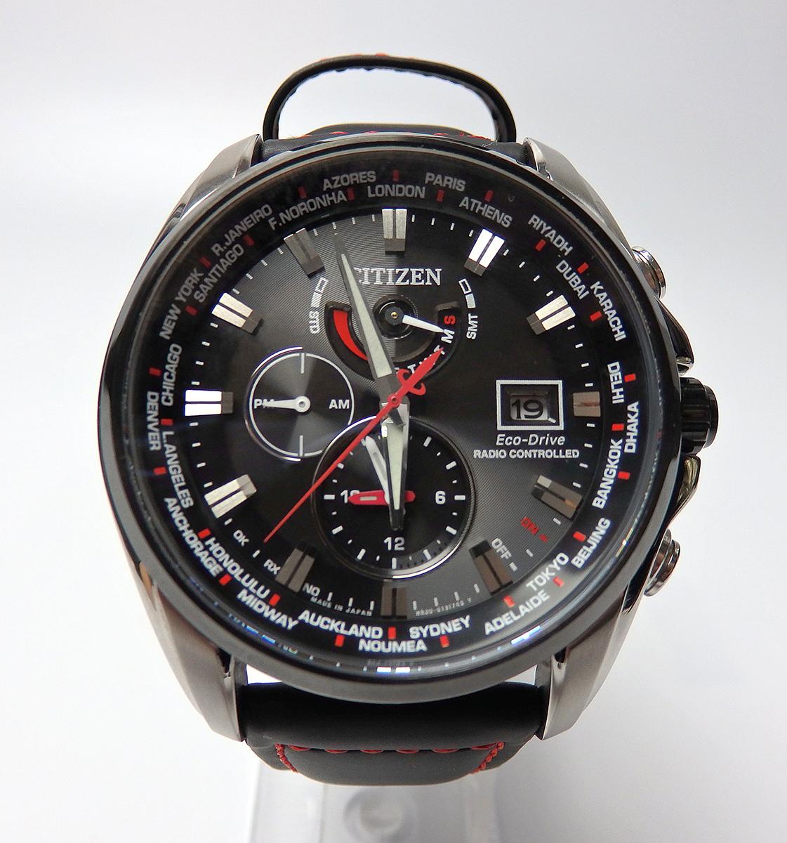 ■□【美品】シチズン CITIZEN エコドライブ AT9065-00E ダブルダイレクトフライト 限定モデル 電波 ソーラー メンズ 腕時計□■
