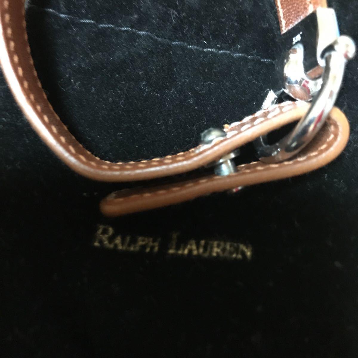 RALPH LAUREN ラルフローレン レザー シルバー 925 ブラウン ブレスレット ③_画像10