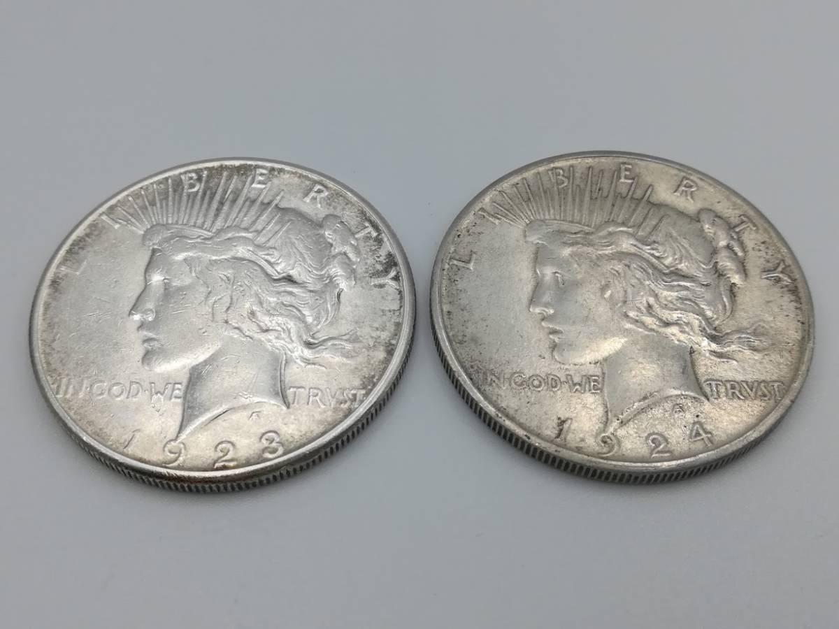 【外国硬貨 おまとめ5枚】アメリカ1ドル銀貨1923年・1924年・1990年、1ドル硬貨1972年 マン島1クラウン硬貨 合計5枚  _画像2