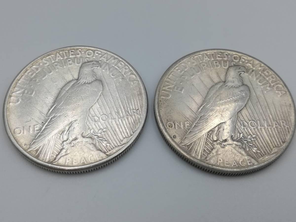 【外国硬貨 おまとめ5枚】アメリカ1ドル銀貨1923年・1924年・1990年、1ドル硬貨1972年 マン島1クラウン硬貨 合計5枚  _画像3
