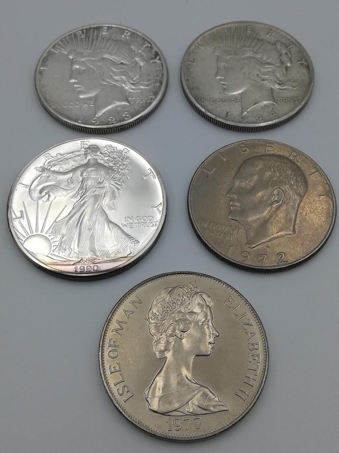 【外国硬貨 おまとめ5枚】アメリカ1ドル銀貨1923年・1924年・1990年、1ドル硬貨1972年 マン島1クラウン硬貨 合計5枚