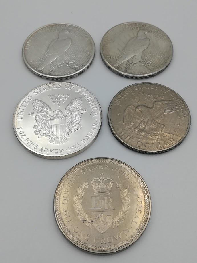 【外国硬貨 おまとめ5枚】アメリカ1ドル銀貨1923年・1924年・1990年、1ドル硬貨1972年 マン島1クラウン硬貨 合計5枚  _画像10