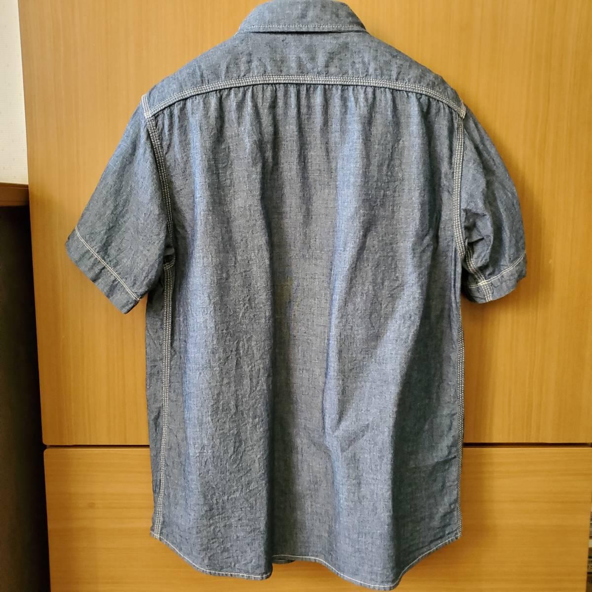 KATO BASIC 半袖 シャンブレー ワークシャツ ONE WASH サイズM カトー_画像2
