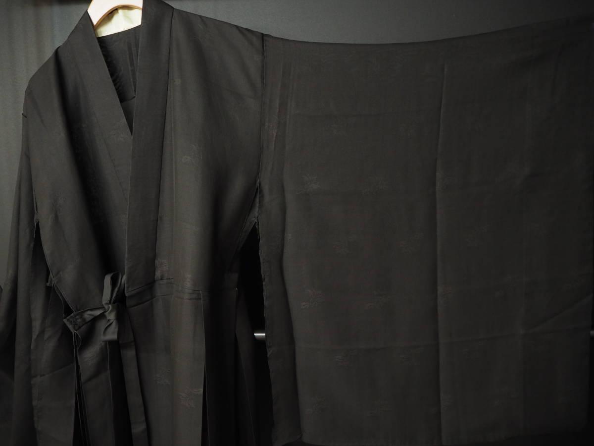 ◆紋紗織◆美品◆法衣◆装束◆正絹◆黒地◆裄86,5㎝袖丈79㎝肩丈115㎝◆◆佛教神職七条袈裟五条袈裟横被装束神主巫女神社寺_画像3