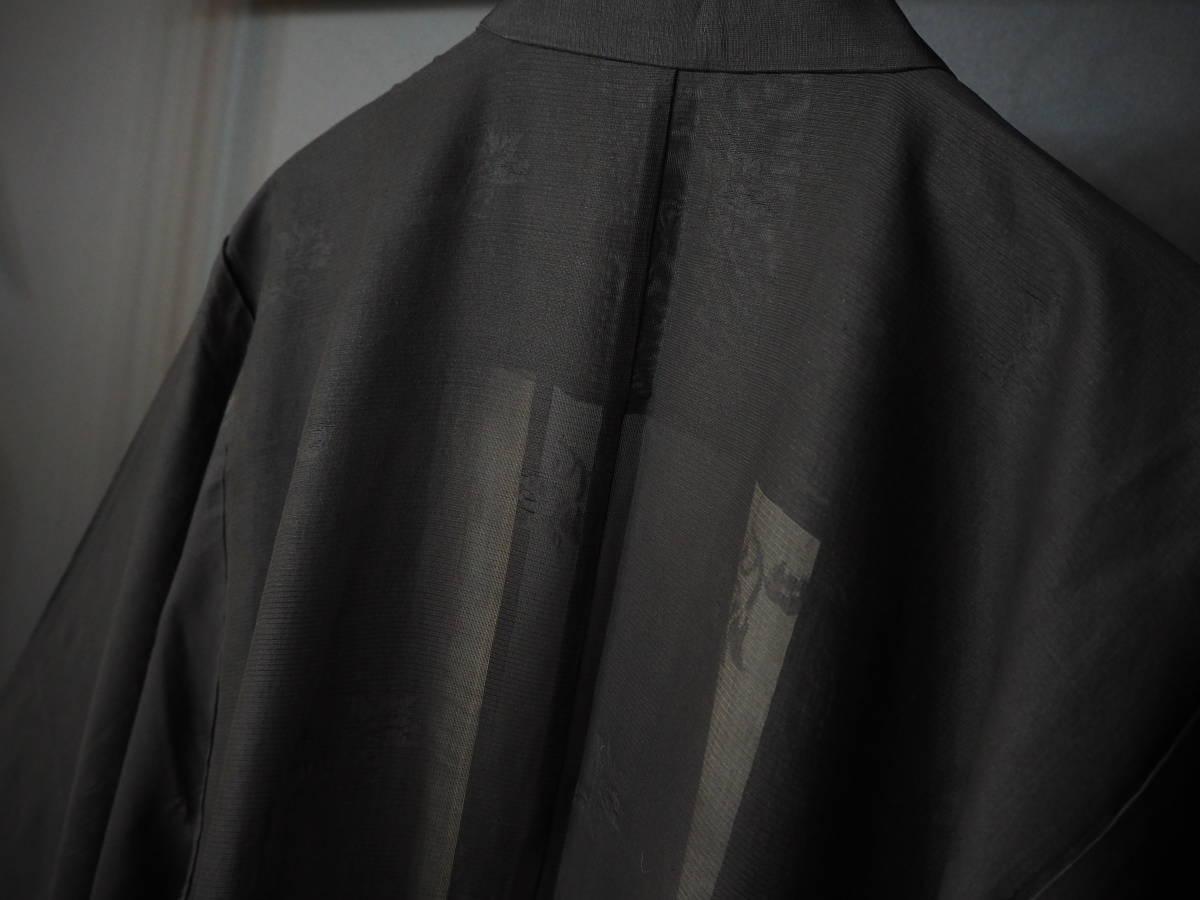 ◆紋紗織◆美品◆法衣◆装束◆正絹◆黒地◆裄86,5㎝袖丈79㎝肩丈115㎝◆◆佛教神職七条袈裟五条袈裟横被装束神主巫女神社寺_画像6