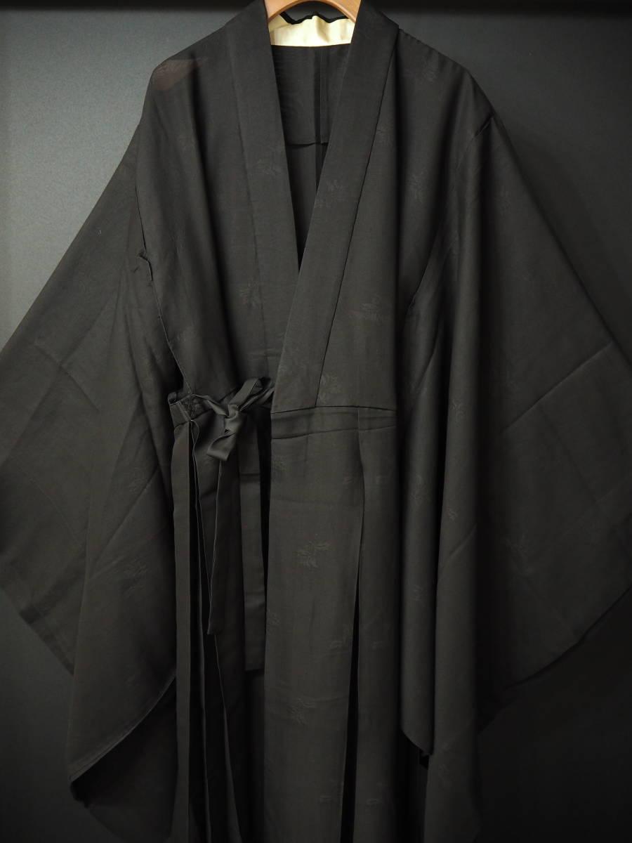 ◆紋紗織◆美品◆法衣◆装束◆正絹◆黒地◆裄86,5㎝袖丈79㎝肩丈115㎝◆◆佛教神職七条袈裟五条袈裟横被装束神主巫女神社寺