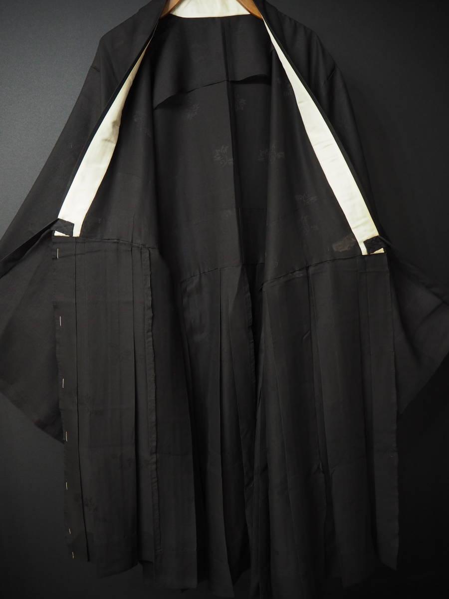 ◆紋紗織◆美品◆法衣◆装束◆正絹◆黒地◆裄86,5㎝袖丈79㎝肩丈115㎝◆◆佛教神職七条袈裟五条袈裟横被装束神主巫女神社寺_画像4