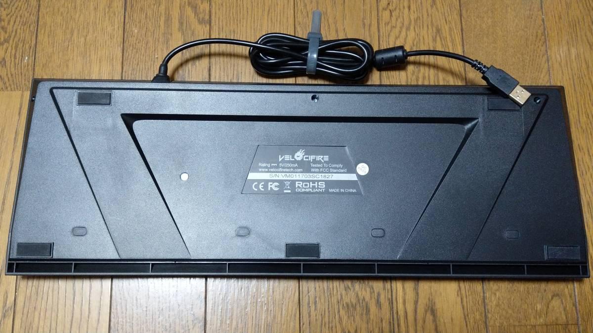【英語配列104キー】Velocifire メカニカル式 茶軸 USB有線 LEDバックライト付き ブラック VM01【ゲーミングキーボード】_画像2