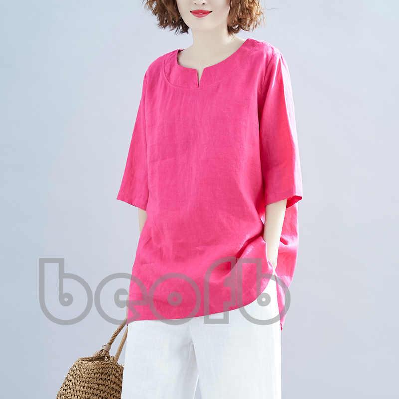 ☆見る人の目を奪い☆Tシャツ 7分袖 ブラウス レディース 綿麻 カジュアル 着心地のいい お洒落 鮮やか ゆったり 夏B173_画像4