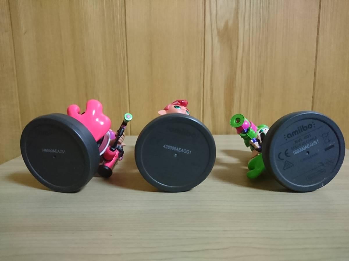 スプラトゥーン2 amiibo アミーボ 美品3体セット ボーイ ネオングリーン ガール ネオンピンク タコボーイ フィギュア_画像3