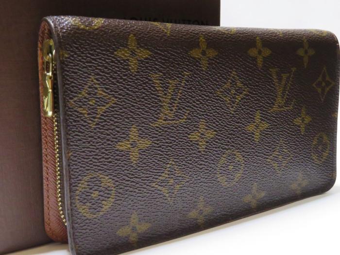【美品】ルイ・ヴィトン Louis Vuitton モノグラム ポルトモネジップ ラウンドファスナー 長財布 ブラウン
