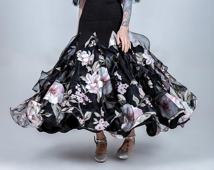 オーダーメード 社交ダンスドレス ラテンドレス モダンドレス ロングスカート ダンスウエア 競技 デモ ダンス衣装 M