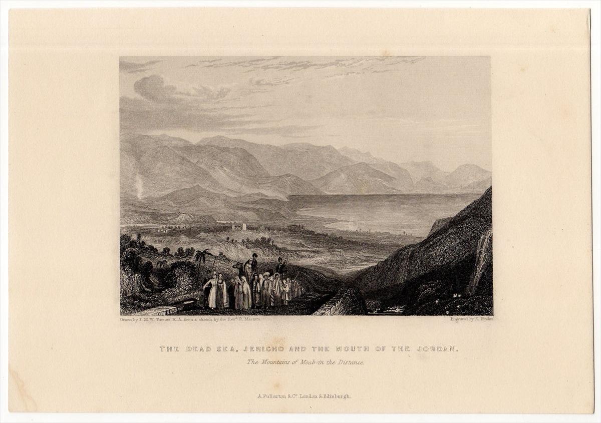 1836年 ターナー 聖書の風景画 鋼板画 死海 ジェリコとヨルダン川河口 THE DEAD SEA,JERICHO AND THE MOUTH OF THE JORDAN_画像1