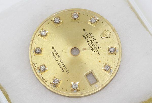 純正品 中古 ロレックス ROLEX 10P ダイヤ 文字盤 デイトジャスト用 腕時計 レディース 69173 シャンパン ゴールド ジャンク_画像3