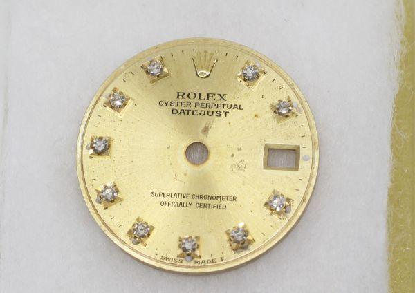 純正品 中古 ロレックス ROLEX 10P ダイヤ 文字盤 デイトジャスト用 腕時計 レディース 69173 シャンパン ゴールド ジャンク_画像2