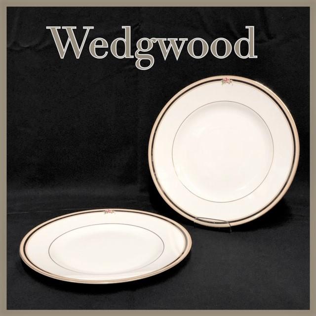 ★新品未使用★ WEDGWOOD ウェッジウッド クリオ CLIO BONE CHINA 英国製 ランチプレート 皿 中皿 2枚  RaHD08_画像1
