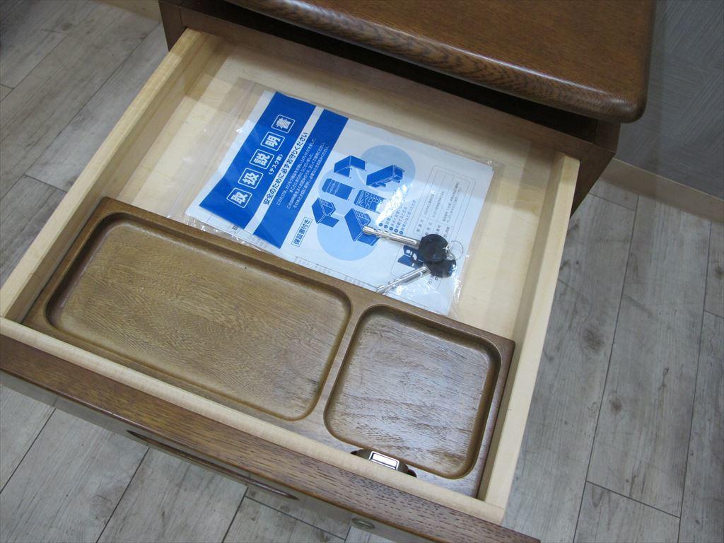 karimoku ナラ材 学習ワゴン 天板昇降ワゴン 鍵あり 幅41cm カリモク デスクワゴンb_画像4