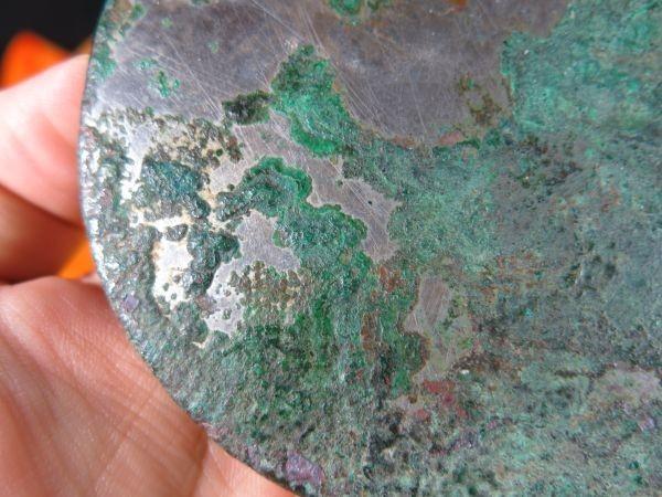 A 文字文様古鏡 漢時代 遺跡発掘品 古代中国 金工 緑青  青銅_画像7