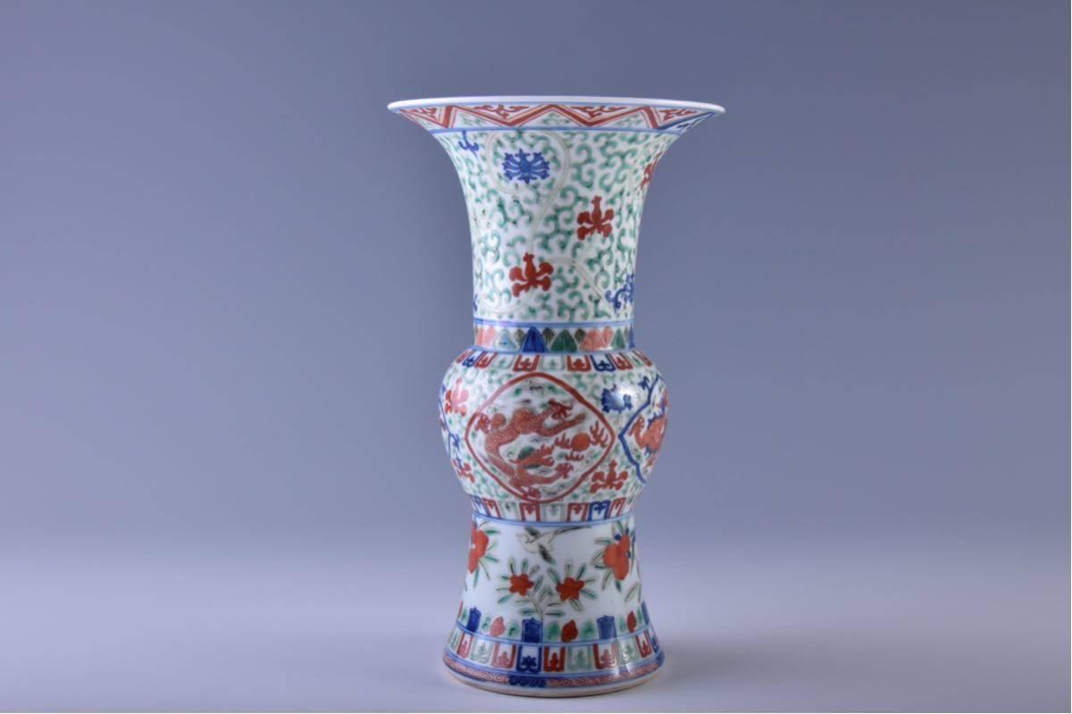 (旭)19082306 中国美術 在銘五彩龍紋花瓶 _画像3