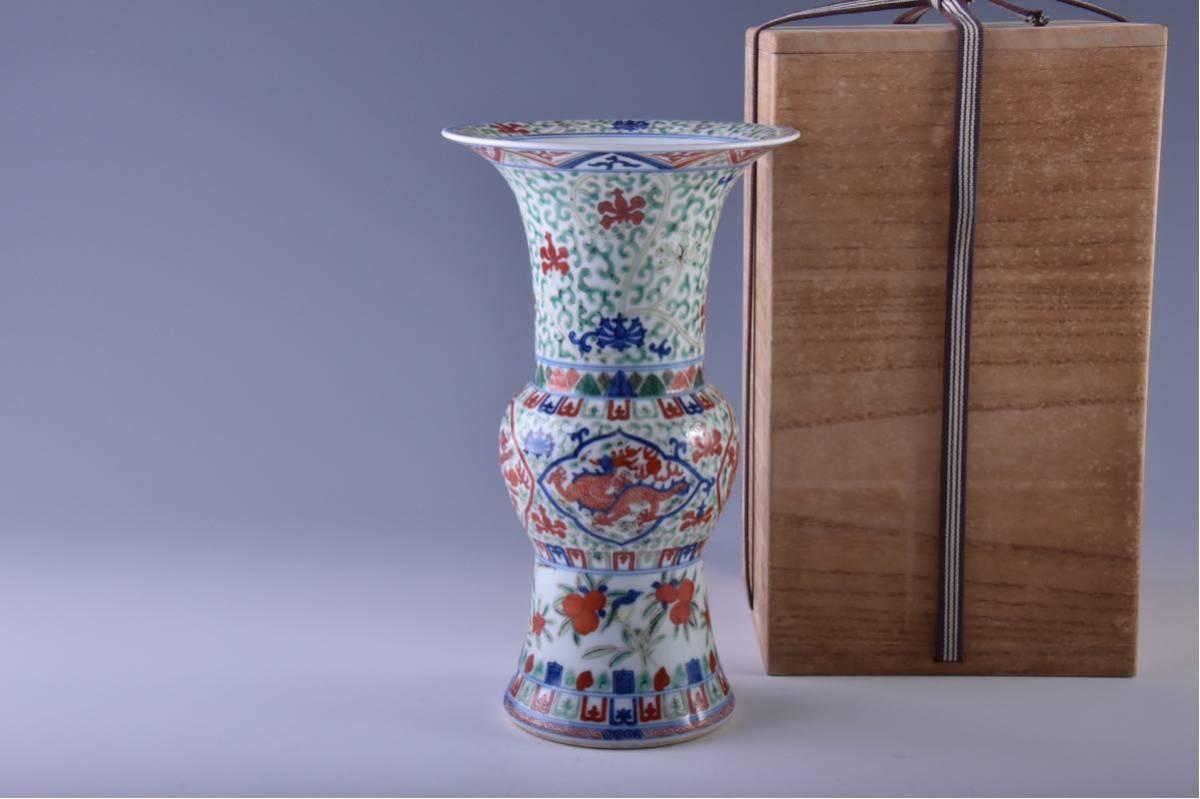 (旭)19082306 中国美術 在銘五彩龍紋花瓶