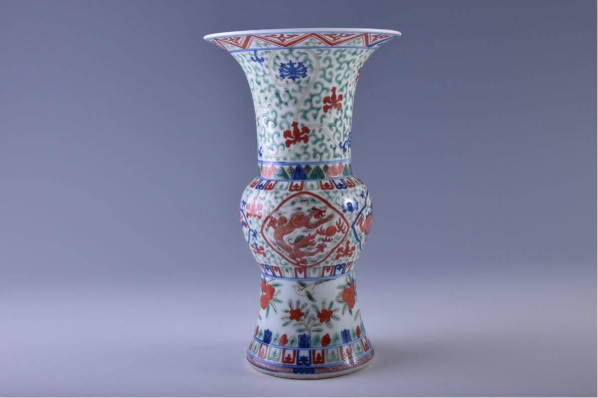 (旭)19082306 中国美術 在銘五彩龍紋花瓶 _画像4