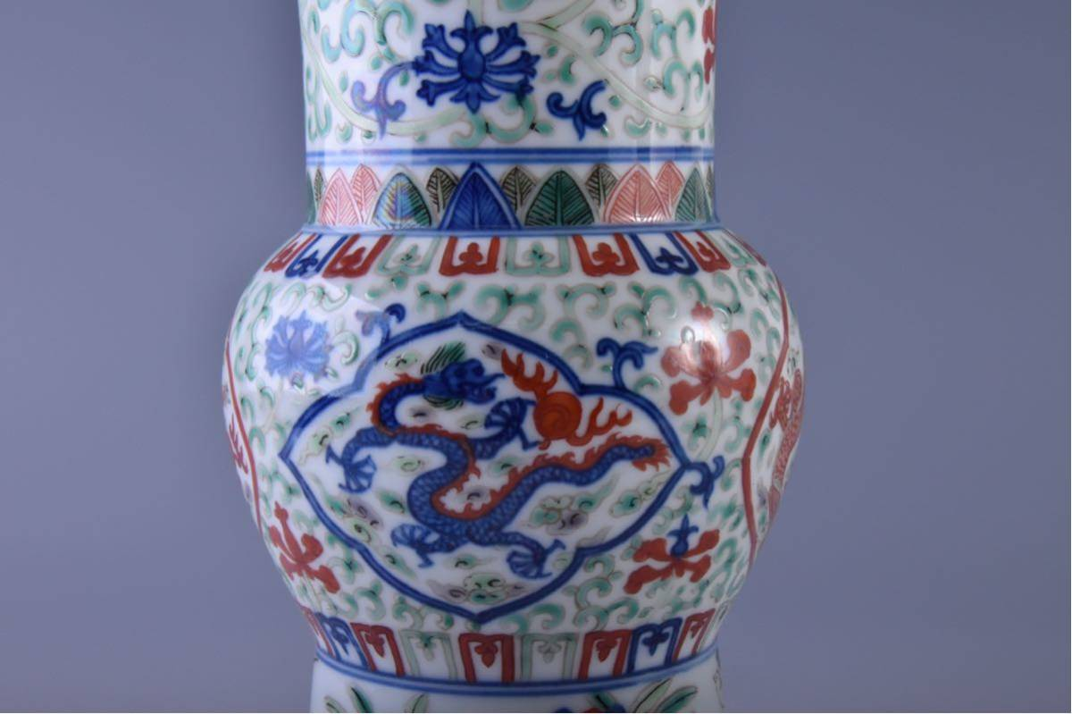 (旭)19082306 中国美術 在銘五彩龍紋花瓶 _画像7
