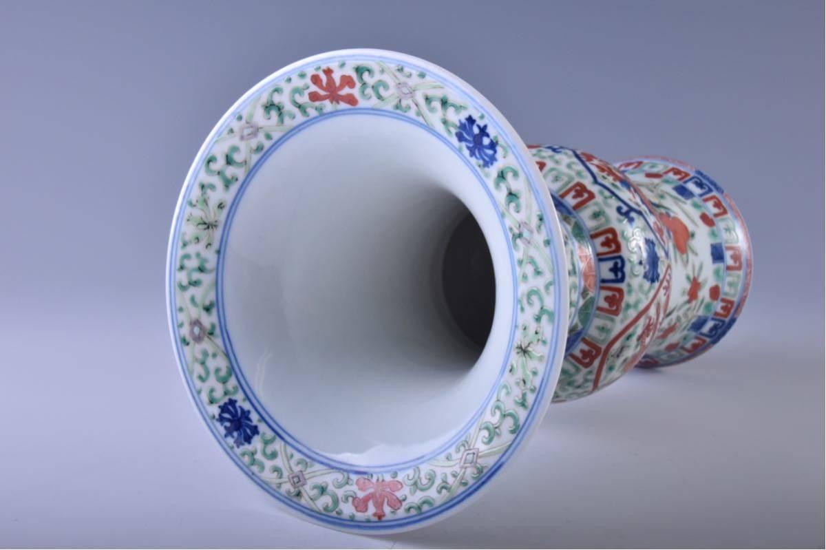 (旭)19082306 中国美術 在銘五彩龍紋花瓶 _画像5