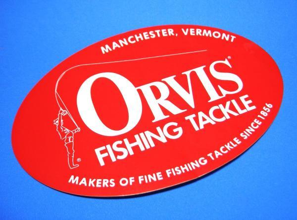 オービス フィッシング タックル フライ ORVIS 赤 〇 大 ステッカー 206mm_画像1